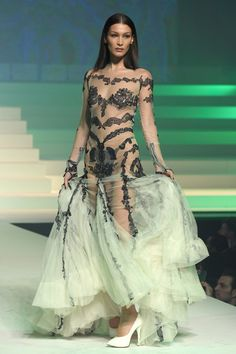 Bella Hadid sexy at Jean-Paul Gualtier Haute Couture SS 2020 show at Paris Fashion Week - January 2020 Couture Mode, Couture Fashion, Runway Fashion, Fashion Show, Paris Fashion, Jean Paul Gaultier, Paul Gaultier Spring, Bella Hadid Photos, Bella Gigi Hadid