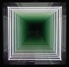Ivan Navarro, Witness, 2010, White neons, painted wood, mirror, one way mirror and electricity, 83,8 x 83,8 x 17,8 cm