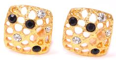 """24-kt Gold-Plated Pewter Encrusted Hollow Rhinestone Fashion Clip On Earrings, Comfortable stylish earrings for the fashionista!     Finishes: 24kt-gold plated pewter, Sterling Silver Plated-Pewter  Nickel Free  Dimensions: 1""""W x1""""L    24-kt Gold-Plated Pewter Encrusted Hollow Rhinestone Fashion Clip On Earrings,floral clip,,clip earrings,clip on earrings,Trends,jewelry, elle,statement,jewels,rhinestones,crystals,French designers,shop the look,gold,black, fashion jewelry, 