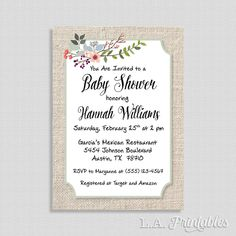Floral Baby Shower Invitation, Baby Shower Invite, Linen and Country Flowers Invite, Gender Neutral, DIY PRINTABLE