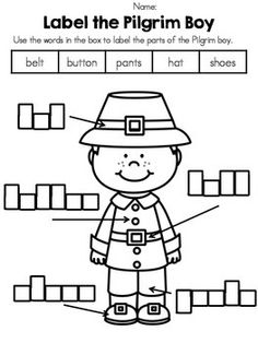 Thanksgiving activities:  FREE label a Pilgrim & Native American worksheets.