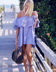 Cute off the shoulder dress.