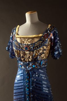 Blue Fishtail evening dress, 1909, Callot Soeurs. Silk and mesh embellished with celluloid sequins and paste gems.