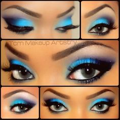 Blue  purple eyeshadows.  Vibrant! I really want to learn how to do this!