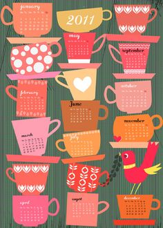 Tea cup calendar. I'd love to giver designer credit if anyone knows who created this :)