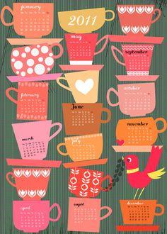 Tea cup calender