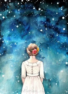 A girl dressed in a white dress with flowers in her hair stares up at the magical starry night sky. A watercolor painting in blue, turquoise,