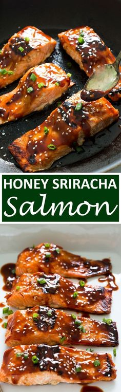 Sweet and Spicy Honey Sriracha Salmon. A super easy and healthy dinner. Sub out soy sauce with coconut aminos