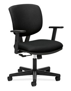 HON Volt Task Chair - Item # HON5701GA10T - Generously-proportioned black fabric seat and back cushions.