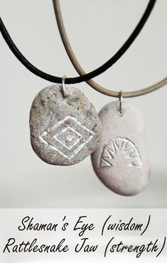 Native American symbols, Indian signs, crafts, jewelry, culture - engraved stone pendants Rattlesnake Jaw - meaning strength and Shaman's Eye - a sign of wisdom; Indian Symbols, Native American Symbols, Symbols Of Strength, Ceramic Design, Stone Pendants, Wicca, South Africa, Photography Ideas, Mixed Media