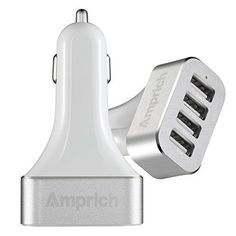 Car Charger Amprich 96A 48W 4 Ports USB Car Charger with Smart Ic High Speed Charging Designed for Iphone 6 6Plus5 5s 5c 4 4s  Ipad Air2 Ipad Mini Retina Samsung Galaxy S6 S6Edge S5 S4 S3 S2 Note 4 3 2 Tab S 4 All New HTC One M8 M7 M4 Mini Kindle Fire Hd PSP Other Android Smartphone Tablets Whitesliver >>> Check out this great product.