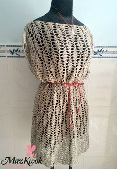 Perfect Cover Up for the Beach! Free lacy, feminine crochet belted tunic pattern. Love this