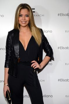 Costanza Caracciolo in our Spring '13 jumpsuit paired with leather jacket at the Fall 2013 Collection Preview.  Get The look > http://j.mp/Z1QwC8