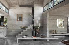 concrete house in the woods