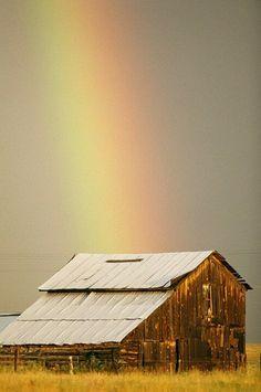 Barn with rainbow