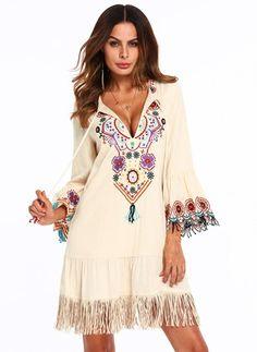 Robes Décontracté Florale Coton mélangé Manches longues Au-dessus du genou - Floryday @ floryday.com
