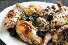 Chicken marbella recipe, classic chicken party dish, chicken cooked with white wine, prunes, green olives. Adapted from the Silver Palate Cookbook.