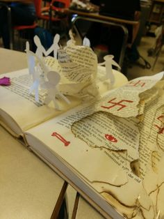 Equality (paper figures) and what can destroy it (scorched and ripped paper pgs). The Book Thief, Altered Books, Alters, Cool Words, Equality, Swag, English, Money, Paper