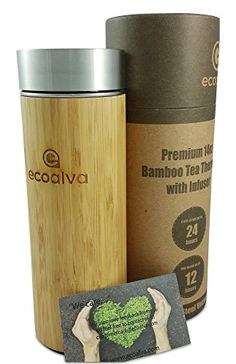Premium 14 Oz Bamboo Stainless Steel Tumbler By ecoalva - Double Wall Vacuum Insulated Tea Thermos - Removable Infuser - Anti-Spill Lid - Perfect Cup For Hot & Cold Drinks & Beverages >>> Learn more by visiting the image link. Waste Solutions, Insulated Travel Mugs, Perfect Cup, Tea Infuser, Infused Water, Loose Leaf Tea, Cold Drinks, Bamboo, Coffee Travel