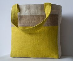 Amore Beaute Handmade Jute (Hessian) Tote Bag in Yellow, Natural, Cream Colour Block Design Amore Beaute http://www.amazon.co.uk/dp/B00N6QZ58W/ref=cm_sw_r_pi_dp_H1lTwb1ZPA18W