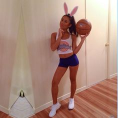 basketball star, oooh ohhh  Gray full bodysuit(I'm not about to be fucking cold to be a sexy furries' dream.) and the shorts + top + ears, bball, white tennies