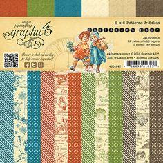 Graphic45 CHILDREN'S HOUR 6x6 PAPER PAD scrapbooking (36) Patterns & Solids