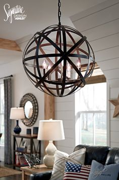 #AshleyFurniture   Celestial Style. Classic Armillary Pendant Light Brings  An Out Of