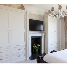 Bespoke Bedroom Wardrobes: His And Hers Design Ideas, Pictures, Remodel and Decor Wardrobe Wall, Bedroom Wardrobe, Built In Wardrobe, Built In Storage, Tall Cabinet Storage, Built In Electric Fireplace, Bedroom Built Ins, Long Walls, Build A Closet