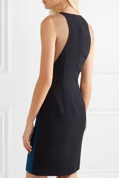 Stella McCartney - Eliana Tulle-paneled Stretch-cady Dress - Petrol - IT44