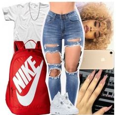 Swag outfits 💍 🎒 💦 ❤ outfits and clothes Nike Outfits, Summer Swag Outfits, Swag Outfits For Girls, Cute Swag Outfits, Teenage Girl Outfits, Cute Outfits For School, Teen Fashion Outfits, Trendy Outfits, Jordan Outfits For Girls