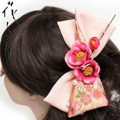 Japanese Hair Accessary Ribbon Comb Plum Camellia Kimono Yuzen from Japan New!