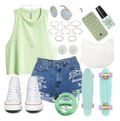 """""""♪Nobody Can Drag Me Down♪"""" by musiclover0406 ❤ liked on Polyvore featuring Tory Burch, H&M, Forever 21, Converse, Urbanears, Full Tilt, OPI and Amber Sceats"""
