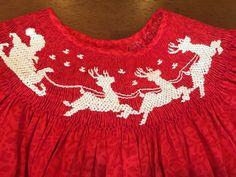 Smocked Santa and Sleigh Dress
