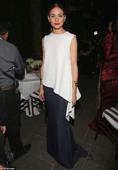 "The flow and draping of this top and skirt are elegant, classy, and modern. This ensemble is good for lean frames and not the best choice for hourglass or top hourglass shapes. See https://www.facebook.com/SmithStyling.PersonalWardrobeStylist?ref=hl naimabarcelona: "" Olivia Palermo 