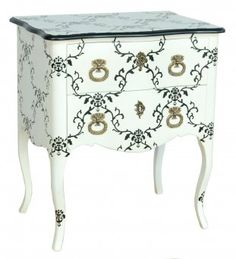 The 'Seigneur' White and Black Bedside Table with 2 drawers, finished in elegant white with beautiful black detailing, will add French charm to your bedroom Rococo Furniture, French Furniture, Shabby Chic Furniture, Painted Furniture, Bedroom Furniture, Furniture Ideas, Modern Baroque, Decoration, Interior Design