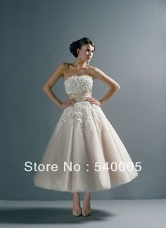 Sexy Mid-Calf A-Line Bridal Gown Backless Tulle Wedding Dresses Distinctive  2014  Short lace wedding dress   US $112.56