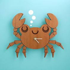 Kids Clock: Wood Crab Wall Clock for Ocean Nursery Theme. $45.00, via Etsy. I REALLY WANT THIS! SO CUTE! :)