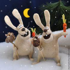 Купить Всегда на коне! - бежевый, зайцы, зайки, валяный заяц, кролик, новогодний подарок
