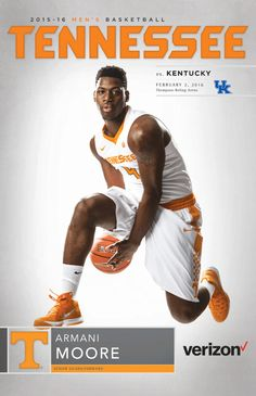 Pick up a Tennessee Volunteers Athletics Men's Basketball Roster Card vs. Kentucky on February at Thompson-Boling Arena. The collectible card features senior guard/forward Armani Moore on its cover. Vols Basketball, Go Vols, University Of Tennessee, Tennessee Volunteers, Athletics, Kentucky, February, College, Cover