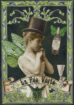 'Absinthe Fairy - Verlaine' by WinonaCookie Absinthe Recipe, Deviant Art, Absinthe Drinker, Green Fairy Absinthe, Green Butterfly, Vintage Posters, French Posters, Vintage Labels, Faeries