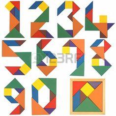 cijfers, tangram.