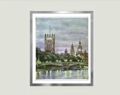 "Watercolor London painting Sunset at Westminster victorian painting neo- ghotic art landscape painting attraction night light painting 8x12"" attraction impressionist night lights landscape painting architecture art ghotic architecture victorian painting london painting london architecture Sunset painting Watercolor London Sights painting HRTBLTZ2 85.00 USD #goriani"