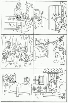 "Images séquentielles ""Le petit Chaperon rouge"" -- six little black-and-white drawings of the main events of Little Red Riding Hood for students to color and put in order -- print in landscape format Más"