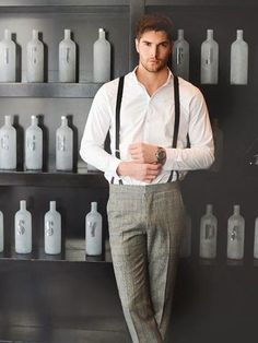 Nice match of trousers and braces/ Pinned from Buttonup-yourshirt.tumblr.com