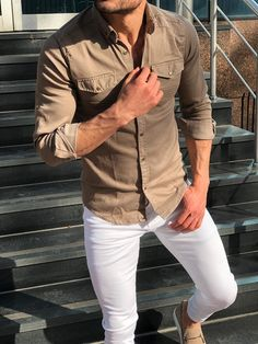 Wales Beige Slim Fit Denim Shirt (1) Fitted Denim Shirt, Denim Shirt Men, Men's Denim, Beige Shirt, Beige Pants, Casual Wear For Men, Casual Shirts For Men, Chinese Shirt, Sneakers Outfit Casual