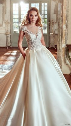 nicole spose bridal 2017 cap sleeve illusion jewel v neck ball gown wedding dress (niab17001) mv
