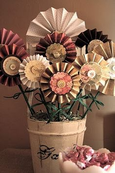These are being made next . . .paper flowers using Martha's scoring board . . .