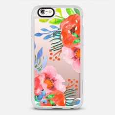 Bright Summer Watercolor Floral - protective iPhone 6 phone case in Clear and Clear by Jande Laulu #floralprint | @casetify