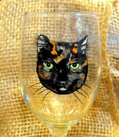 Hand painted personalized cat wine glass https://www.etsy.com/listing/513452151/cat-wine-glass-calico-cat-wine-glass