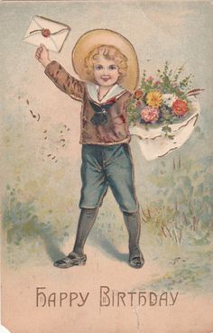 Wishing You A Happy Birthday Boy Girl Flowers Unposted Vintage Postcard